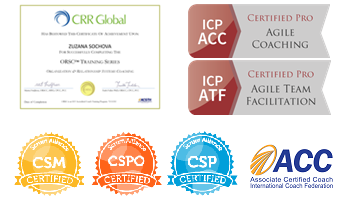 Coaching certifications (CRR Global, ACC ICF, ICP ACC, ICP ATF, CSP, CSPO, CSM)